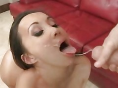 Saucy Katsumi gets her face hole filled with warm cum