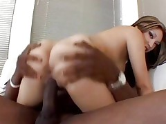 Rampant asian Nautica rides her pussy on this huge ramrod