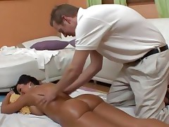 An oiled up in nature's garb Lisa Ann gets an after massage fuck