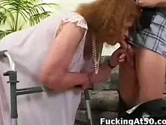 Granny can barely walk but she can still give a wonderful fucking