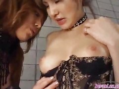 2 Hawt Asian Girls In Sexy Underware Sucking Each Other Nipples Patting On The Mattress In The Basement