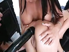 Pretty lesbian girls know how to put massive darksome dildo into black hole