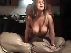 Mature doxy with big natural boobs is drilled from behind, her chap is rough with her.