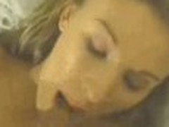 Brilliantly sexy woman gets screwed between her big nice mangos with dark giant cock, sliding along her chest.
