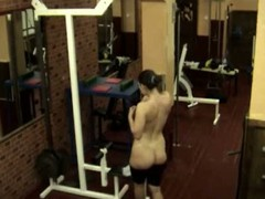 The same plump bimbo caught on livecam in the gym when stripping and walking nude having no clue about the voyeur who filmed her unshaved cum-hole and yummy curves when she showed off before huge mirror!
