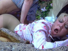 Fuckable golden-haired getting cunt eaten and screwed thru her greenish pantyhose