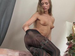 Strict looking office beauty disrobes to her mock hold-up tights and gets wild
