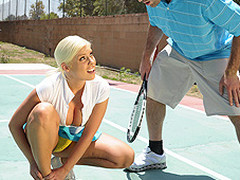 Britney can't live without a little healthy competition. Britney likewise has a healthy set of jumbo knockers. When Charles meets up with her for a match, Britney is in way over her head. Not merely is this chab a more fantastic tennis player, but this sweetheart risks being flopped out of the league entirely. As a last minute ploy, Britney uses her wits and her zeppelins in order to win the match!