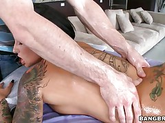 This hot whore enjoys a large hard schlong in her face gap but 1st this hottie need her pink shaved pussy fingered. Her hawt body curls as this hottie receives the studs tongue in her vagina, widening her oiled legs wider and wider. Is this hottie going to acquire a massive load of semen in her face gap after sucking that cock? And if so, will this hottie swallow?