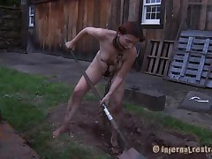 The worthless slut Maggie digs a hole to stay in it. That babe has a beautiful face hole and a hawt body but this babe is bawdy and her pretty lips widen by a thraldom device. After Maggie finishes digging this babe needs to suck the end of the shovel and then get her shaved love tunnel filled with it. That's right Maggie, u know you're place