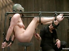 Star heard about s&m but that chick never thought that things could get so coarse in a session of servitude sadistic masochism. That chick was tied on that metal frame, a rubber balloon was used to cover her head and suffocate her and then clamps were used to gape her pussy. That was only the warm up, stick around and see more