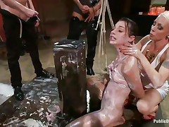 This babe has a very glamorous mouth, so glamorous that they've decided to open and cum in it. One playgirl keeps her throat opened wide while the men masturbate and cum in it. Look at these marvelous pink lips and at the look in her eyes as they brutally fuck her and then abased her by pouring milk on her body.