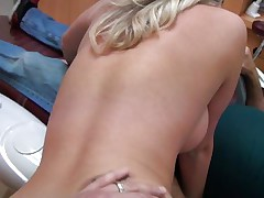 Cute young angel with long blond hair receives it from behind from a lewd dentist. She really enjoys his really hard dick as u can watch it from her face. She spread her legs as that chick receives ready for some pussylicking. Will he fuck her for worthwhile or will that chick be satisfied with just some cunnilingus?