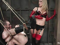 See this super sexy blond mommy teaching this bad boy a lesson in hard way. This babe fastened him up and gagged his face aperture before fucking his world upside down! This babe puts on a belt on and fucks him real hard. This babe likewise locked his cock so that that guy can't cum! This babe keeps teasing his cock and fucking his wazoo with pleasure!