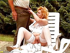 See this sexually excited old lady getting crazy and some old men playing along with her. One of the man bald her older muff and then the other one comes in to help her out. This chab fingers her muff and love button marvelous well. Then this guy takes out his jock to receive a precious blowjob from this older bbw whore!