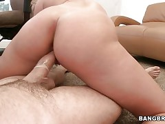 See this excited blonde moaning of joy during the time that that babe rides that large hard cock. Look at her perfect a-hole getting spanked and that dick going in and out of her taut pussy. After that that babe begins sucking that shlong with the condom on and gets her a-hole back to work. Is this chab going to cum on her pretty face?