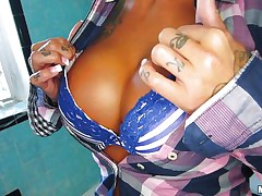 Damn look at these big perfect boobs and at her ass, this blonde is smokin' hot! She's a slut also and can't live without playing kinky before fucking. That candy between her whoppers says it all about her and just like she can't live without licking candy the blonde does the same with a big hard penis. See some greater amount and enjoy!