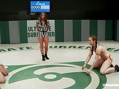 Hawt bitches wearing swimsuits starts wrestling because they desire to dominate every other. The strumpets are caught in difficult clutches, from which they have to escape, otherwise the other takes her bra or bikini off and starts licking her body. Each sexual move brings recent points and the fight is tight!