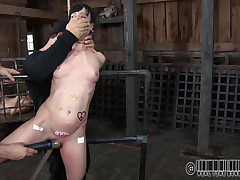 Hanged by her throat and pussy rubbed with a vibrator, Elise's torment just began. She's a slender cute brunette milf that needs a rough treatment and gets it. The executor tortured her love muffins and then inserted an inflatable device in her throat before spreading her legs. There's a lot he will do with her body!