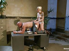 Chad Rock thinks he'll impress mastix Lorelei Lee with his business suit. She's unimpressed. She copulates him from behind on the desk with her black strap-on then flips him over on his back and pounds his booty harder. She strokes the bitch boy's cock and allows him to squirt his spunk all over himself.