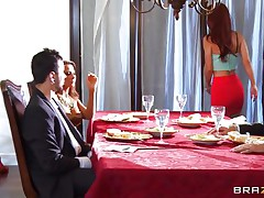 At dinning table spouse tells some truth about himself, redhead wife doesn't like it and wants to leave that place. As this babe is going to leave this babe is caught by one more sexy blond babe, spouse tells her to teach her wife a lesson. That babe lay her on the sofa and fingers her love tunnel and kisses her erotically. Golden-haired babe unzips her spouse pant and pulls of his hard dick and starts engulfing it in front of her spouse during the time that this babe is held taut by one more man.