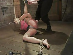 Amber never felt so abused in her life! She is fastened with one leg up, blindfolded and face hole gagged. She get's what that honey deserves, an humiliating treatment that involves a lot of spanking. Look how her shoe is removed and her foot is spanked and then her thigh too. Does that honey enjoys the pain, should that honey receive some more?