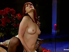 Her long red hair, sexy legs and gorgeous face makes this fellow wanna obey to her devilish wishes so this fellow licks her muff like a good obedient boy and then bends over with submission to take it unfathomable in his ass. This babe drills his gap with her thong on dildo and makes him moan, what else this mistress has prepared for him?