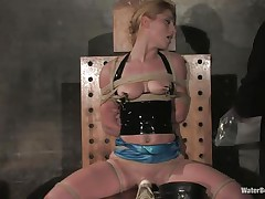 Slut needs her every day dose of suffocation. This pussy loves what her executor does and if u look closely her moist lips are begging for greater quantity as the bag on her head makes breathing very difficult for her. Her pussy is stimulated by a vibrator, the tits are squeezed and the water inside the bag makes us think what will happen next.
