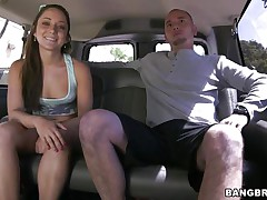 Gal Remy LaCroix is once again delighting us with her sex drive. This time the hawt a-hole babe takes a ride white the bang bus and gets a hard cock between her soaked lips and in that tight shaved pussy of hers. Look at her working hard for some cum, ridding the man in cowgirl position