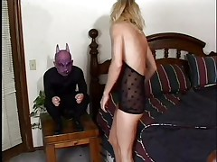 This is cute, a blond skinny babe with pink juicy lips is taking a nap and the gargoyle on her bedside awakes and scares her. She get's very horny immediately and starts sucking his diminutive devilish penis, deepthroating it with pleasure. The gargoyle fucks her pretty mouth hard and grabs her by that gorgeous hair as he does that. Is this little devil going to cum on her pretty face?