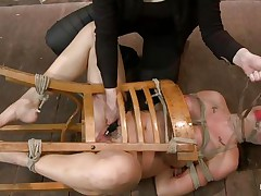 I just love bound up honeys that are getting their cum-hole fucked. This one, Chanel Preston, is a hot bitch and she's bound on that chair whilst a women fingers her pink cum-hole and then leaves her there on the floor, just look at those big hot breasts and pretty face. In the next scene this hot bitch has her melons bound with rope and solely her teats are out, that babe gets whipped on those hard teats and hawt booty. Perhaps her cum-hole is all wet now and that babe wonders what will happen to her next.