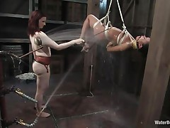 That girl needs an intensive washing and some flogging too and this mistress knows how to do the job right! That babe hanged her and washed her fit sexy body until this babe putted down, tied her with another rope and secured her in a ideal position. Are u thinking for what is that vibrator in the wall?