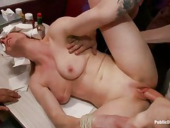 Blindfolded hot milfs Beretta James and her blonde friend get gangbanged in a bar. They enjoy having their moist vaginas filled with chap meat, side by side. White men fuck them roughly, showing their vaginas no mercy. The 2 beauties open theirs mouths waiting for the males to cum on their fascinating faces.
