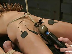 The man is showing his skills in domination and punishment. This guy putted laundry pliers on this slut's boobs and then suckers on her nipples before rubbing her clit with a vibrator. After rubbing that fur pie worthwhile and good this guy hangs her and probably has something very special for her ass, would u like to see that?