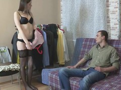 Watching his glamorous girlfriend try on a fresh erotic underware set gives this horny guy an idea to play a kinky sex game where this sweetheart is an inexperienced courtesan fucking a total stranger right in front of his eyes. Hooking her up with a rich fellow from a dating site is a piece of cake and that guy nice-looking pretty soon finds himself jerking off while watching her suck large curved shlong and acquire fucked raw wearing no thing but a couple of black hold-up nylons.