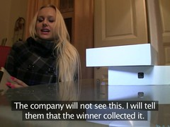 Golden-Haired with Huge boobs thinks this hottie has won an iPad.  Well this hottie will if this hottie rides my big dick.