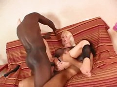 Breasty slut in fishnet top does anal 3some