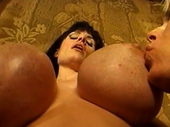 Massive melons are bouncing everywhere as these three voluptuous gals...