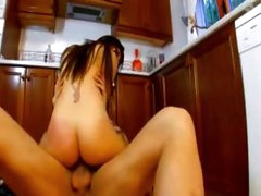 Hardcore anal on the kitchen floor