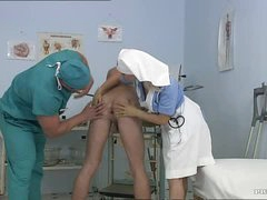 Busty Blonde Nurse Kathy Sweet Gets Facialized In a Bisexual 3some