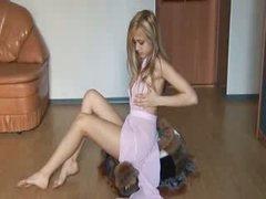 Cute blondie from russia teasing