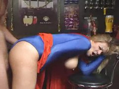 Supergirl costume on blond milf taking dick