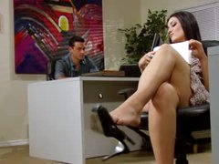 Hawt office footjob and blowjob