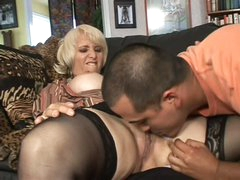 Mature blonde Sophie Mounds with wet pierced fur pie