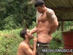 Slutty military muscled homosexual studs doing some intensive training