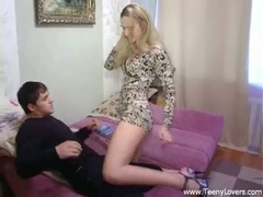 Blonde teen sucks and bonks in high heels