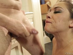 Kristina Rose receives her face plastered with warm cum
