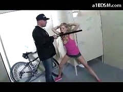Nasty Blonde Girl Getting Handcuffed Cookie Rubbed With Baton Giving Blowjob For The Security Guard In The Public Toilette