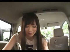 Asian Girl Sucking Man Cock Giving Handjob Cum To Hand In The Back Of The Car