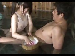 Oriental Gal In Swimsuit Giving Oral In The Bath